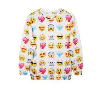 Casual Style Jewel Neck Emoji Print Long Sleeve Sweatshirt For Women