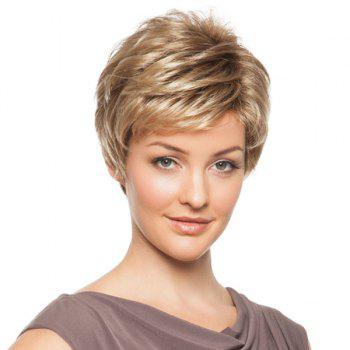 Stylish Human Hair Noble Side Bang Fluffy Layered Short Straight Women's Capless Wig - BROWN WITH BLONDE BROWN/BLONDE