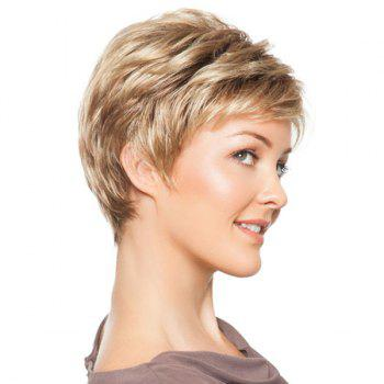 Stylish Human Hair Noble Side Bang Fluffy Layered Short Straight Women's Capless Wig -  BROWN/BLONDE