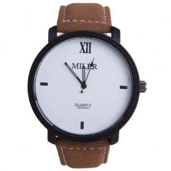 Miler A828502 Analog Quartz Watch with Nubuck Leather Strap for Men - BROWN