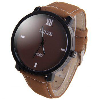 Miler A828502 Analog Quartz Watch with Nubuck Leather Strap for Men - BROWN BROWN