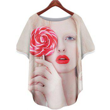 Stylish Women's Jewel Neck Loose-Fitting Figure Print Short Sleeve T-Shirt