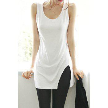 Casual Scoop Neck Solid Color Slimming Women's Tank Top