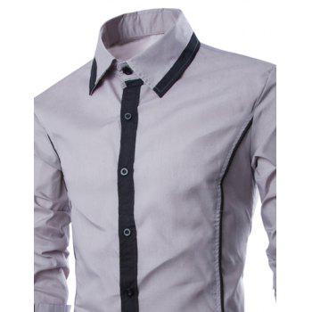 Trendy Color Block Fake Tie Design Shirt Collar Long Sleeve Slimming Men's Polyester Shirt - GRAY L