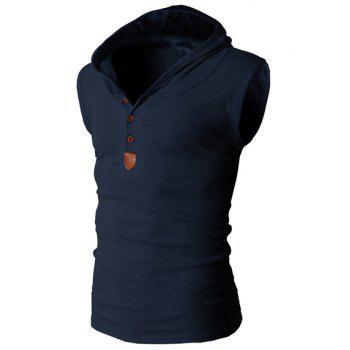 Trendy Solid Color Button Design Hooded Sleeveless Slimming Men's Polyester Tank Top - CADETBLUE M