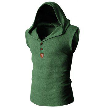 Trendy Solid Color Button Design Hooded Sleeveless Slimming Men's Polyester Tank Top - GREEN 2XL