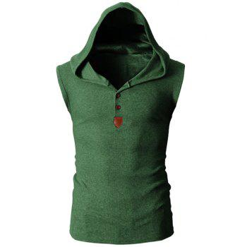 Trendy Solid Color Button Design Hooded Sleeveless Slimming Men's Polyester Tank Top - GREEN GREEN