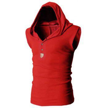 Trendy Solid Color Button Design Hooded Sleeveless Slimming Men's Polyester Tank Top - RED L