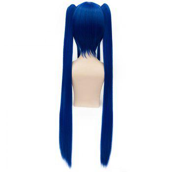 Trendy Long Straight Deep Blue Charming Wendy Marvell Cosplay Wig with Bunches -
