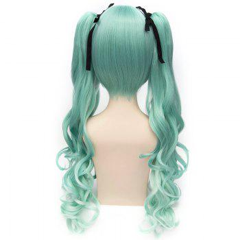 Trendy Long Wavy Green Ombre Charming Takatsuki Sen Cosplay Wig with Bunches -