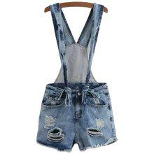 Fashionable Destroy Wash Denim Overalls For Women