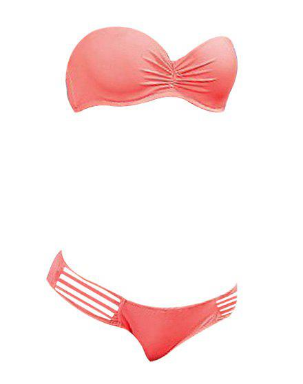Stylish Women's Solid Color Hollow Out Push-Up Bikini Set - PINK L