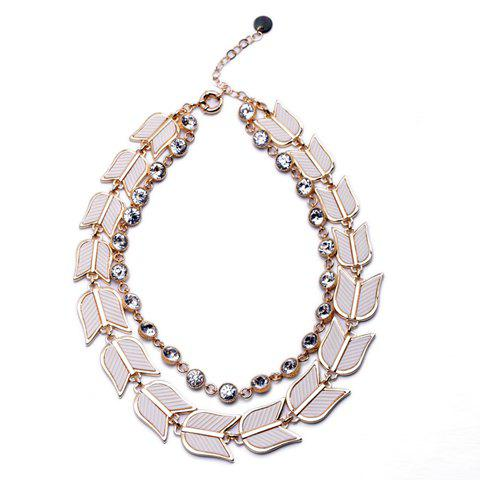 Delicate Rhinestone Embellished Fan Shape Women's Double-Layered Necklace - WHITE