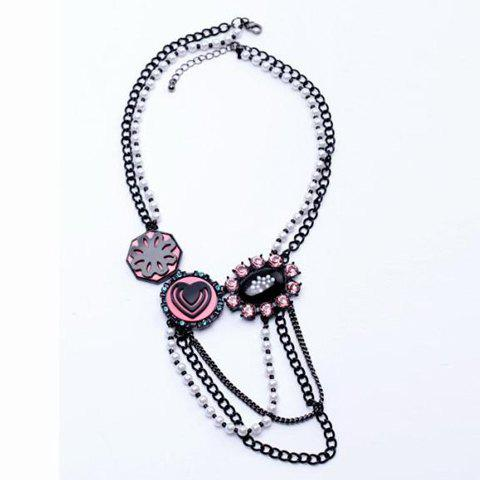 Rhinestone Embellished Heart Shape Multilayered Necklace - BLACK