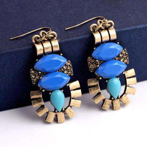 Pair of Chic Faux Gem Decorated Hollow Out Geometric Women's Earrings - BLUE