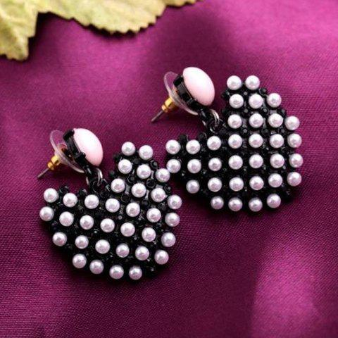 Pair of Cute Faux Pearl Decorated Heart Shape Women's Earrings -  WHITE/BLACK