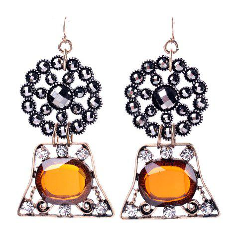 Pair of Sweet Cute Rhinestone Faux Gem Geometric Design Earrings For Women - COLORMIX