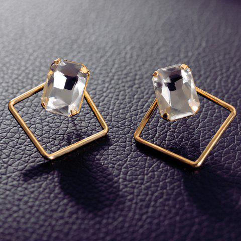 Pair of Faux Gem Decorated Rhombus Shape Stud Earrings - GOLDEN