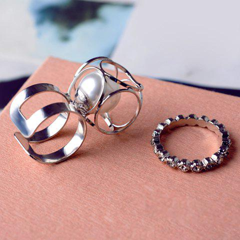 2PCS Rhinestone Faux Pearl Cuff Rings - SILVER ONE-PIECE