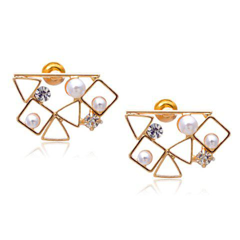 Pair of Rhinestone Embellished Hollow Out Geometric Earrings - GOLDEN
