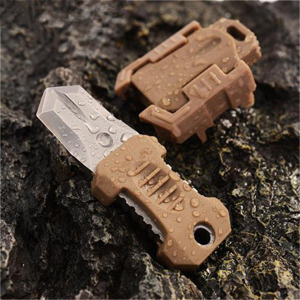 EDC Gear Multifunction Outdoor Camping 2 Full Blade Survival Knife with Webbing Buckle StyleHome<br><br><br>Color: KHAKI
