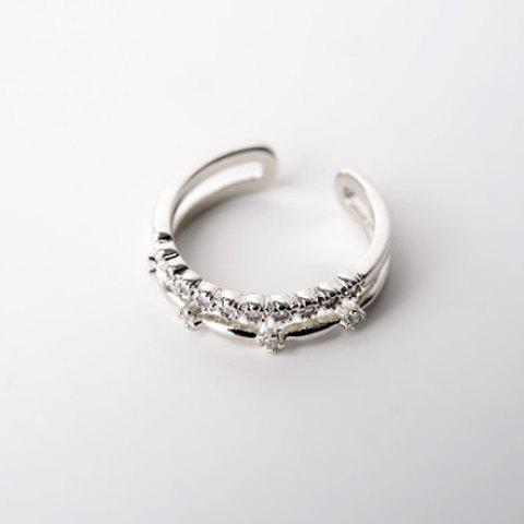 Delicate Rhinestone Embellished Double-Layered Women's Cuff Ring
