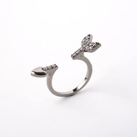 Characteristic Rhinestone Embellished Heart and Arrow Shape Women's Cuff Ring