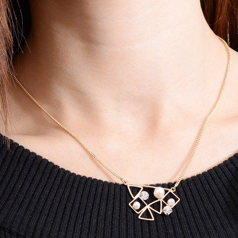 Attractive Faux Pearl Decorated Hollow Out Geometric Women's Necklace
