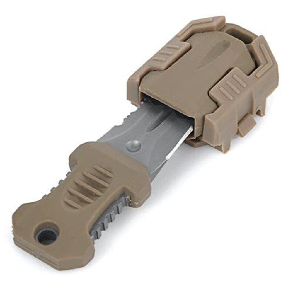 EDC Gear Multifunction Outdoor Camping One Full Blade Survival Knife with Webbing Buckle Style - KHAKI