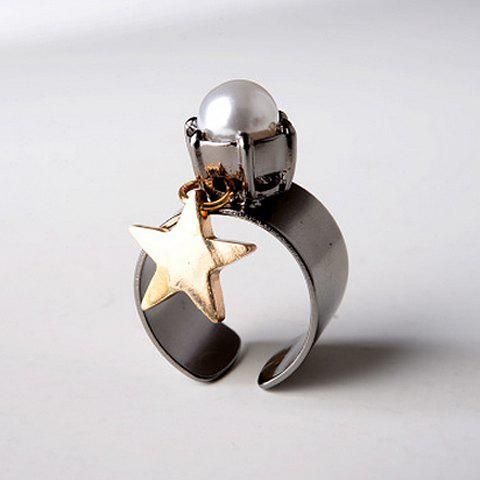 Chic Five-Pointed Star Pendant Faux Pearl Decorated Women's Cuff Ring - GUN METAL ONE-SIZE