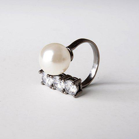 Rhinestone Faux Pearl Decorated Ring - GUN METAL ONE-SIZE