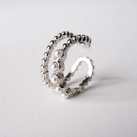 Delicate Faux Pearl Embellished Double-Layered Women's Cuff Ring - SILVER ONE-SIZE