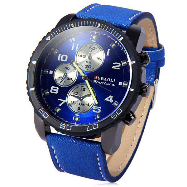 Jubaoli Leather Band Male Quartz Watch with Rotatable Bezel Decorative Sub-dialsWatches<br><br><br>Color: BLUE