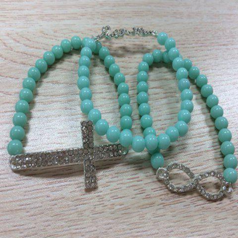 3PCS of Casual Style Diamante Colored Beaded Strand Bracelets For Women - LIGHT BLUE