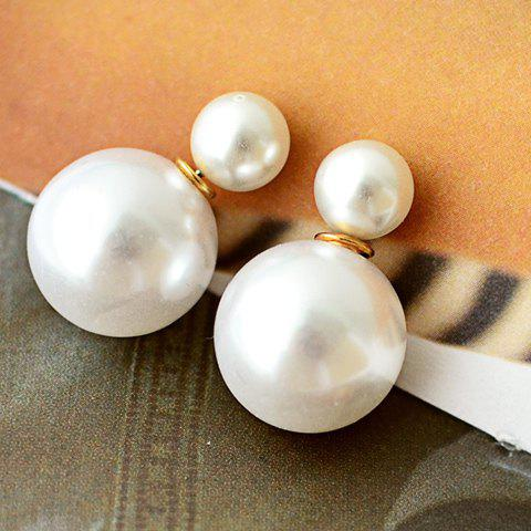 Pair of Faux Pearl Decorated Stud EarringsJewelry<br><br><br>Color: WHITE
