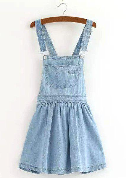 Preppy Style Pocket Design Solid Color Denim Women's Suspender Skirt - LIGHT BLUE L