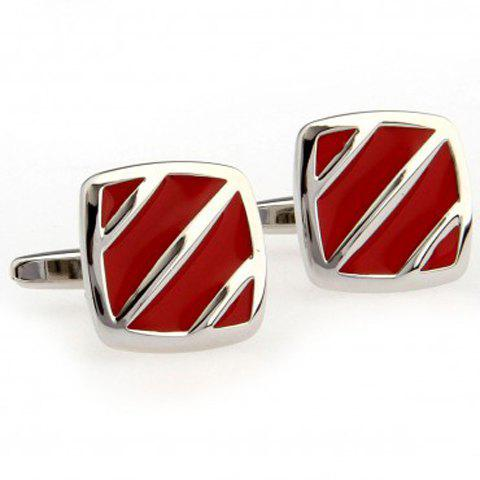 Pair of Fashionable Stripe Pattern Red Cufflinks For Men - RED