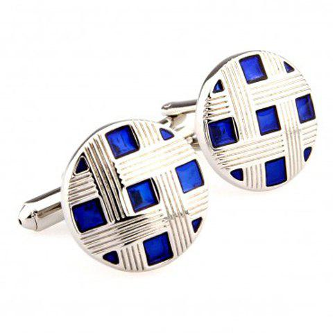 Pair of Gorgeous Blue Grid Pattern Cufflinks For Men - SILVER/BLUE