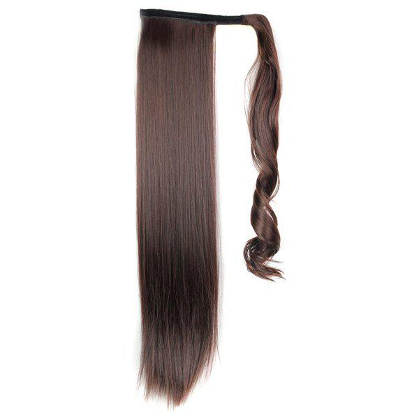 Stylish Long Straight Charming Dark Brown Heat Resistant Synthetic Women's Ponytail - DEEP BROWN