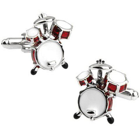 Pair of Fashionable Red Drum Set Shape Cufflinks For Men - SILVER