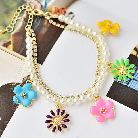 Fresh Style Rhinestone and Faux Pearl Embellished Floral Double-Layered Women's Bracelet