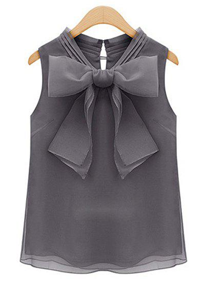 Sweet Bow Tie Collar Solid Color Sleeveless Women's Blouse - GRAY M