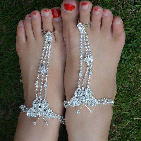 ONE PIECE Chic Delicate Rhinestone Butterfly Design Anklet For Women - SILVER