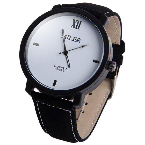 Miler A828502 Analog Quartz Watch with Nubuck Leather Strap for Men