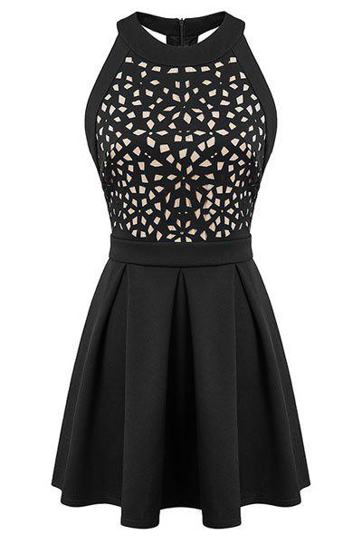 Elegant Hollow Out Round Collar Backless Sleeveless Dress For Women - BLACK M
