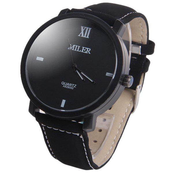 Miler A828502 Analog Quartz Watch with Nubuck Leather Strap for Men - BLACK