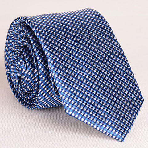 Noble Full Tiny Blue Grid Pattern Neck Tie For Men - PURPLISH BLUE