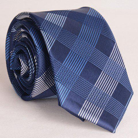 Sophisticated Multicolor Cross Stripe Pattern Thin Neck Tie For Men - CHECKED
