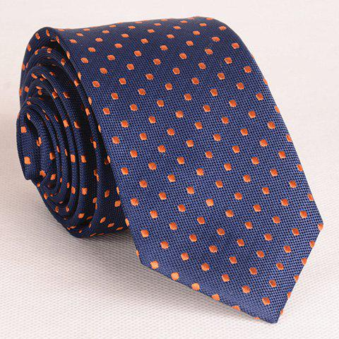 Simple Style Embroidered Polka Dot Decorated Thin Neck Tie For Men - PURPLISH BLUE