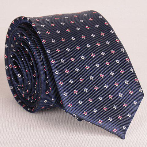 Durable Tiny Embroidered Grid Decorated Color Block Neck Tie For Men - PURPLISH BLUE